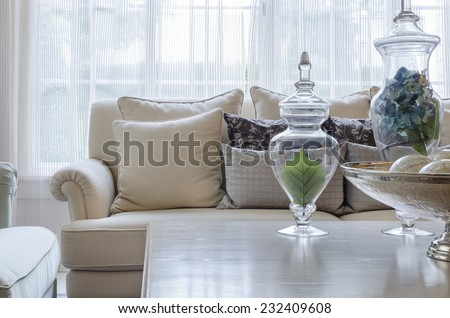 luxury earth tone color sofa in living room