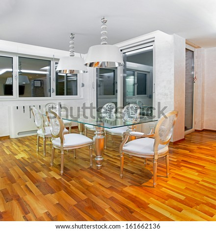 Luxury elegant dining room interior with modern furniture