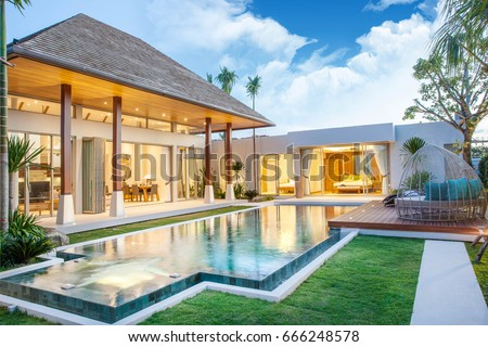 luxury exterior design pool villa with interior design living room