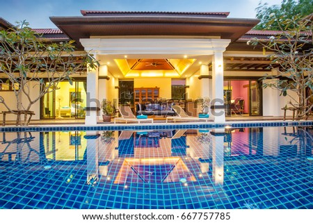 luxury exterior design pool villa with interior design living room  #667757785