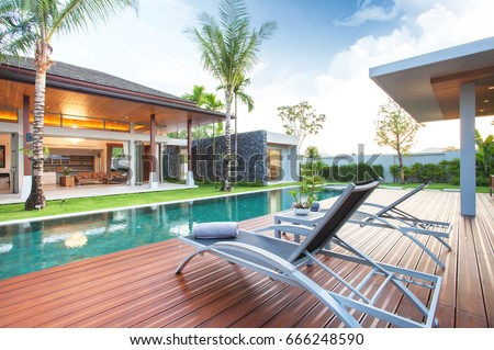luxury exterior design pool villa with interior design living room  home, house, building , resort , hotel #666248590