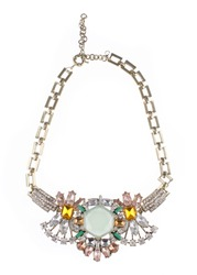 Luxury fashion jewelry gemstons diamonds and crystal on white isolated background. Colorful jewels trending necklace.