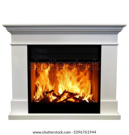 Luxury fireplace isolated on white background.