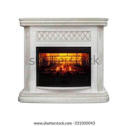 Luxury fireplace isolated on white background #331000043