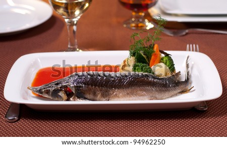 luxury fish sturgeon whith vegetable