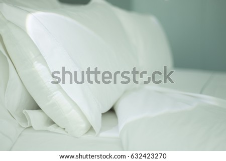 Luxury five star hotel bedroom bed sheets and linen clean and pressed with room ready and cleaned. #632423270
