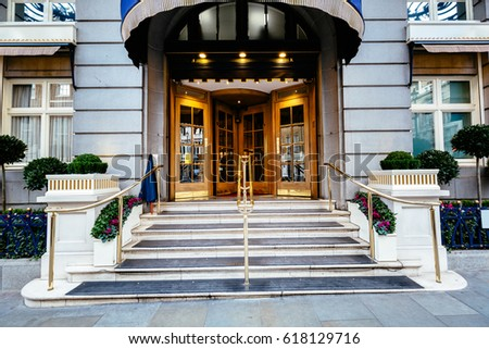 Luxury five star hotel entrance door, most expensive hotel in london uk #618129716