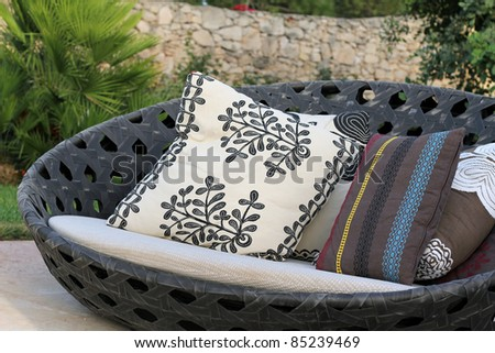 luxury garden furniture with colorful cushions