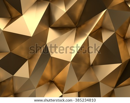 Luxury Gold Abstract Low-poly Background 3D Rendering ストックフォト ©