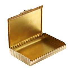 Luxury gold cigarette case isolated on white
