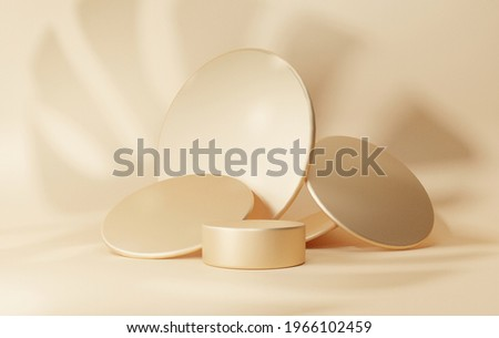 Luxury gold 3D background with shadows leaf monstera podium geometric shapes circle, empty pedestal on one floors Curved wall the platform for product presentation minimal, composition, rendering Photo stock ©