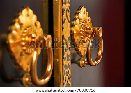 Luxury gold handle in japanese temple