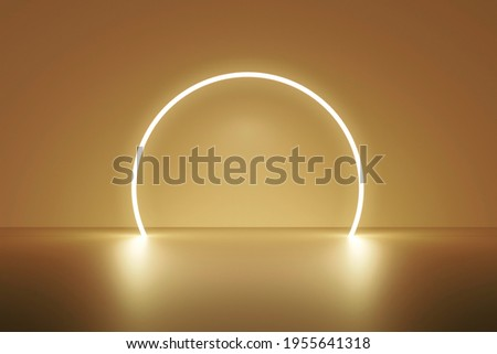 Luxury gold product backgrounds stage or blank podium pedestal on elegance presentation display backdrops with glow light. 3D rendering.