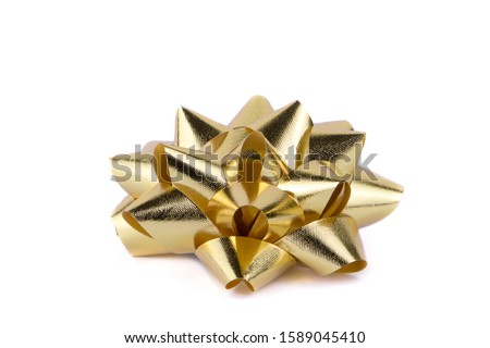 Luxury gold ribbon isolated on white background, New year and chrismas decoration, Gift box , Clipping path
