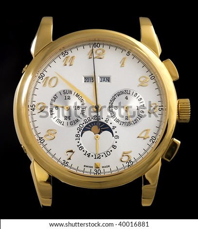 Luxury gold watch isolated on black background