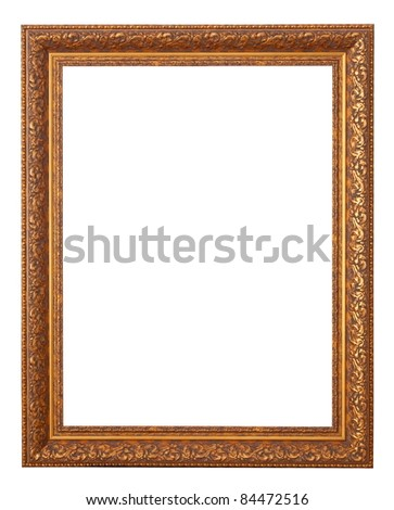 Luxury golden frame. Isolated over white background with clipping path