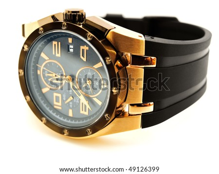 luxury golden man watch against white background