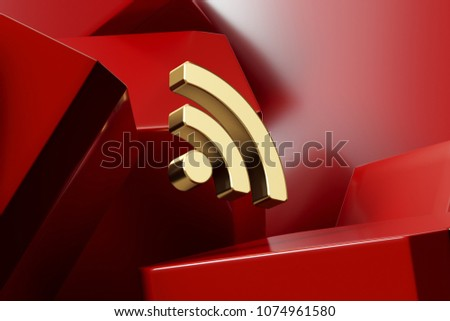 Luxury Golden Rss Feed Icon With the Red Glossy Boxes. 3D Illustration of Fine Golden Blog, Feed, News, Rss Icon Set on the Red Geometric Background.