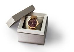 Luxury Golden watch in a gift box.