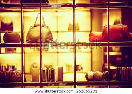 Luxury Goods Shopping. Luxury Purse Products For Woman. Store Front Closeup. #262865291