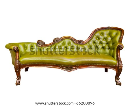 luxury green leather armchair isolated on white background