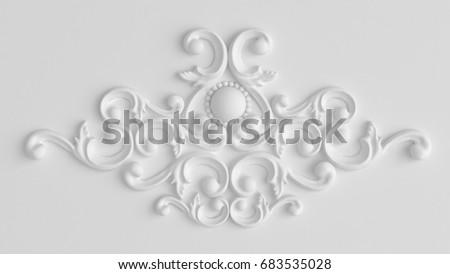 Luxury gypsum decoration element, wall concept stucco, interior architecture pattern. 3d illustration, 3d rendering.