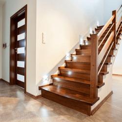Luxury hallway with wooden stairs to bedroom on teh floor