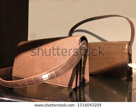 Luxury handbags in a boutique store. Female handbags on the shelf. Fashionable women's handbags in the store. Woman handbag in a showcase of a luxury store. Collection of handbags in woman`s closet
