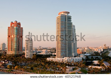 Luxury high rise condo buildings in a tropical location in morning light