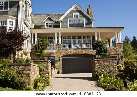 luxury home in the suburbs of North America - stock photo
