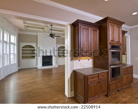 Luxury Home Interior Kitchen Cabinets And Living Room W