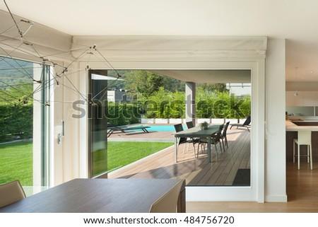 luxury home interior wide open space veranda and garden view from