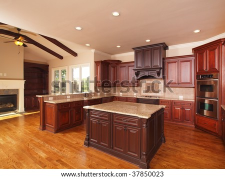 Luxury Home Kitchen Side With Center Island And Cabinets Stock Photo 37850023 Shutterstock