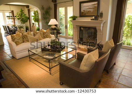 Luxury home living room with a fireplace stock photo Luxury fireplaces luxury homes