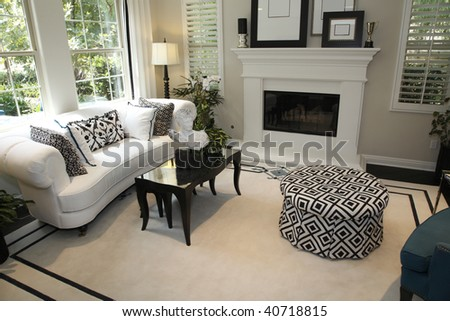Living Room on Luxury Home Living Room With A Fireplace And Stylish Decor    Stock