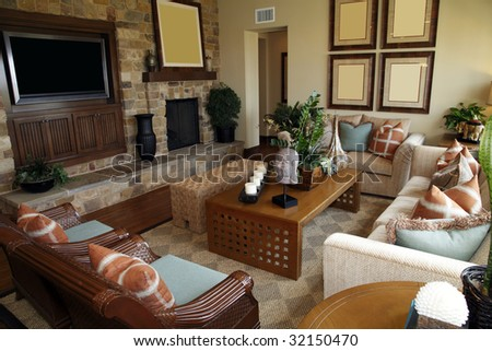 Luxury Home Living Room With Contemporary Furniture. Stock Photo