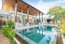 luxury home or house building Exterior and interior design showing tropical pool villa with green garden