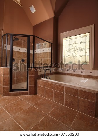 Tiles Bathroom on Luxury Home Tile Bathroom With Stained Glass Window And Tub   Stock