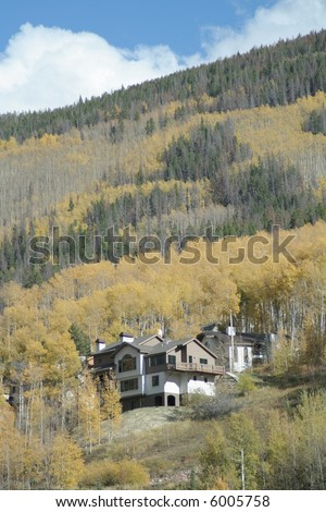 Luxury homes on mountain side during yellow autumn leave changing