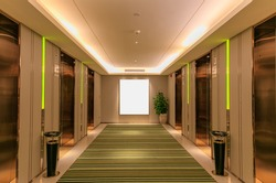 Luxury hotel in the modern style of the elevator, green and pure and fresh carpet, feel warm