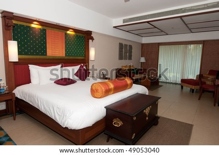 Luxury hotel room at a resort - stock photo