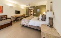 Luxury hotel room. Caribbean resort. Modern comfortable and elegant luxury master bedroom. Interior design.