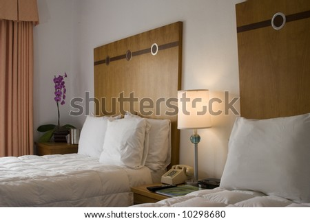 luxury hotel room with down comforter south beach miami art deco district florida usa