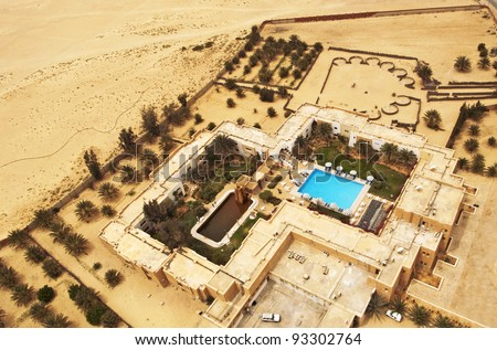 Luxury hotel with a swimming pool in Sahara, Tunisia