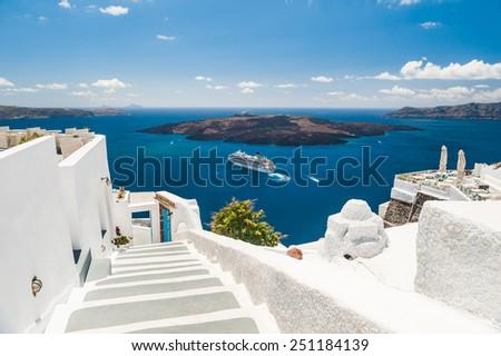 Luxury hotel with sea view. White architecture on Santorini island, Greece. Beautiful summer landscape