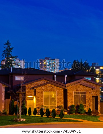 Luxury house in dusk in Vancouver, Canada.