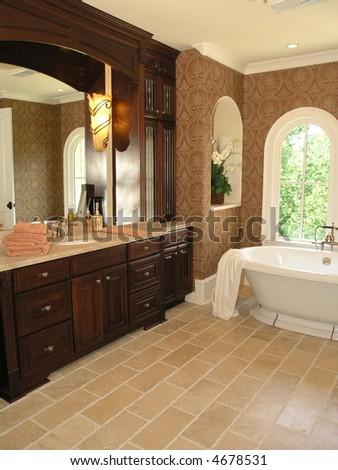 Luxury House Marble Bathroom in window light