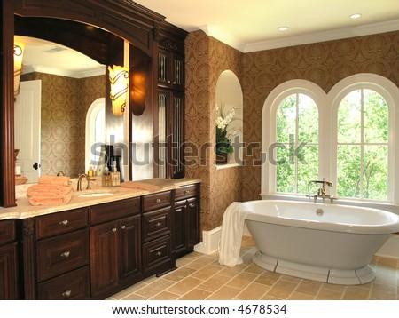 Luxury House Marble Bathroom in window light - stock photo