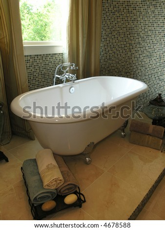 Luxury House Marble Bathroom in window light - stock photo