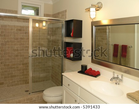 Vessel Sinks Bathroom on Luxury House Marble Bathroom With Bowl Sink And Mirror Stock Photo